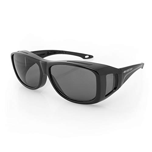 Bobster ECDL002 Condor 2 OTG Sunglasses, Gloss Black Frame, Anti-fog Smoked Lens, Large (Sunglasses Bobster Womens Motorcycle)