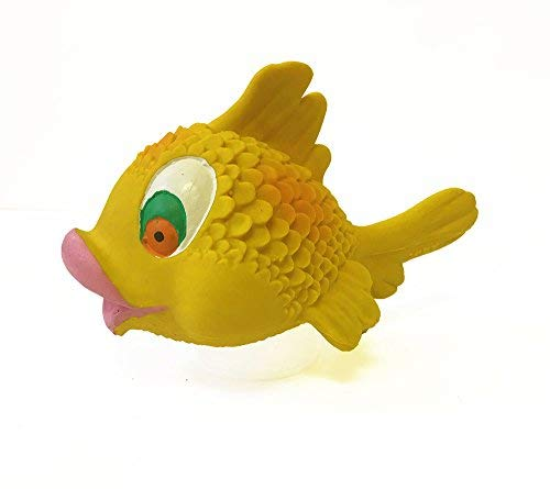 Kissy Fish Dog Toys. 100% Natural Rubber (Latex). Lead-Free & Chemical-Free. Complies to Same Safety Standards as Childrens Toys. Soft, unstuffed & Squeaky. Handmade in Morocco.