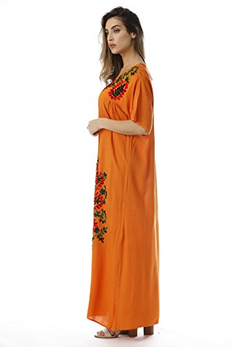 Embroidered Slits Maxi Double with Dress Riviera Sun Orange Side Mexican 16qwnAa