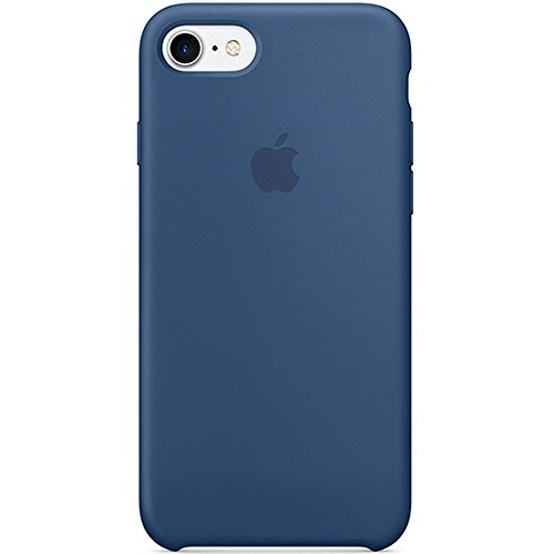 Optimal shield Soft Leather Apple Silicone Case Cover for Apple iPhone 7 (4.7inch) Boxed- Retail Packaging (Ocean Blue)