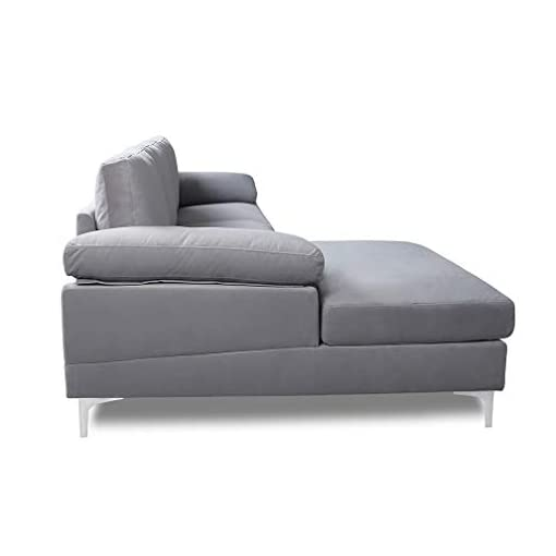 Living Room Sectional Sofa for Living Room Sectional Couch with Velvet Fabric and Hard Wood Frame L-Shape Sectional Sofa Couch Grey… modern sofas and couches