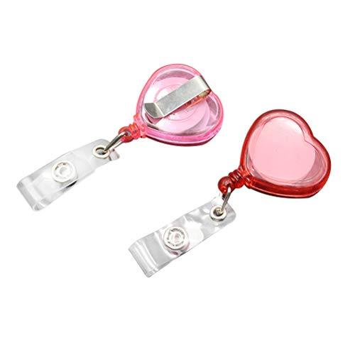 STOBOK 10PCS Retractable ID Badge Reel Clips Love Heart Shape Card Clips ID Card Sleeve Telescopic Buckle (Random Color)