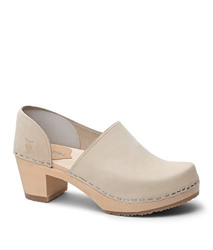 - Sandgrens Swedish High Heel Wooden Clogs for Women   Brett Sand, EU 36