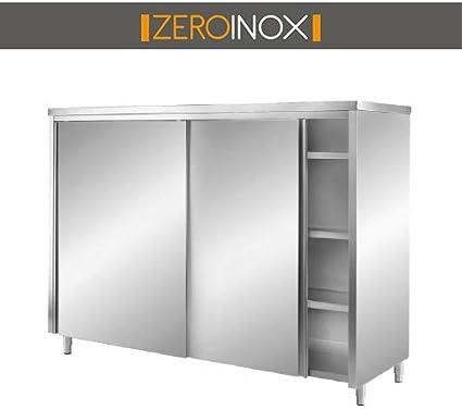 ZeroInox Armario Puertas correderas con 3 estantes – P60 H 180 ...