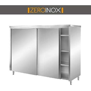 ZeroInox Armario Puertas correderas con 3 estantes - P60 H ...