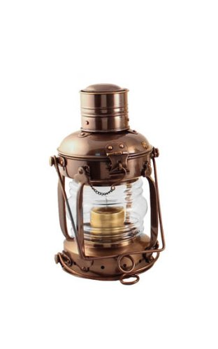 Coastal Christmas Tablescape Décor -  Nautical antique brass anchor candle lantern by Vermont Lanterns