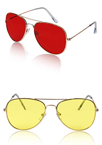 (70s 70's Glasses For Women Men Costume Teen Festival Two Pack Gold Red)