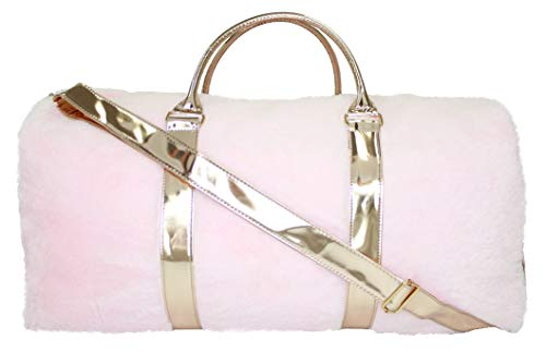 - American Jewel Rose Gold Fur Travel Bag, Large