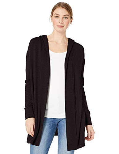 Daily Ritual Women's  Supersoft Terry Hooded Open Sweatshirt, Black, XX-Large