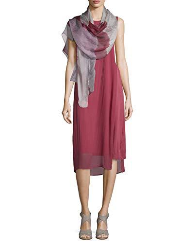 Eileen Fisher 100% Stretch Silk Jersey Rosewood Jewel Neck K/L Dress Size XS MSRP $398