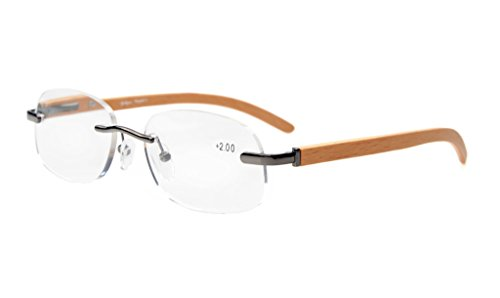 Eyekepper Readers Reading Glasses Men Women Spring Hinges Wood Temple Rimless Gunmetal +0.75 (Temples Rimless Eyeglasses)