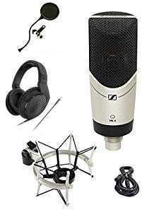 Sennheiser MK-4 STUDIO Limited Edition MK4 Mic Bundle with Headphones, Shockmount, XLR Cable and Pop Filter Popper Stopper ()