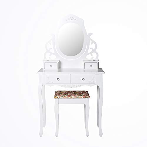 Peach Tree Elegant Vanity Set Modern Makeup Dressing Table Oval Mirror with 4 Drawers, Stool Set Easy Assembly, White ()