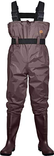 Mountalk High Chest Waders for Men with Boots, Womens/Mens/Youth Durable Waterproof Canvas Fly Fishing Waders with Boots - Also Use for Hunting, Waterworks