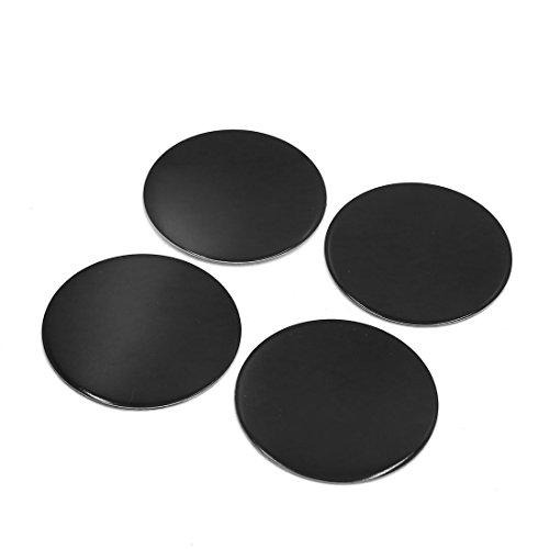 uxcell 4Pcs 45mm Dia Black Aluminum Alloy Car Wheel Sticker Hub Caps Centre Cover Decor