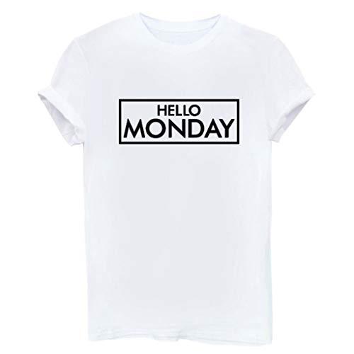AKwell Women T-Shirt Hello Monday Letter Print T-Shirt Short Sleeve Pullover Tops White