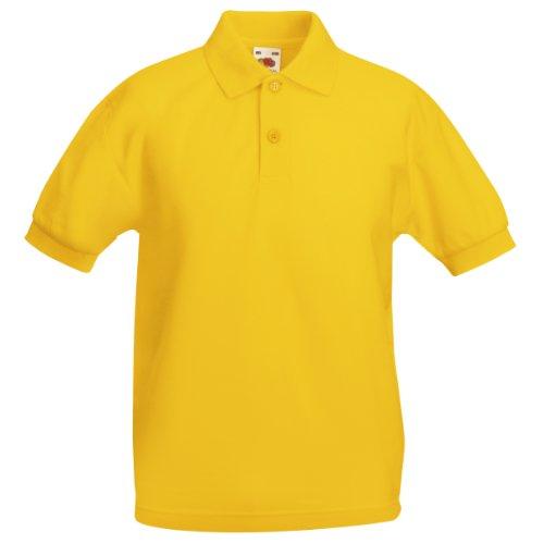 Fruit Of The Loom - Kinder Unisex Pique Kurzarm Polo Shirt - 3-4 Jahre, Sonnenblumen Gelb