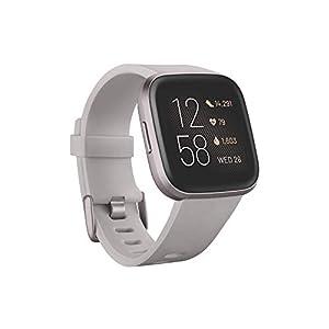 Fitbit Versa 2 Health & Fitness Smartwatch with Voice Control, Sleep Score & Music, One Size, Stone/Mist Grey