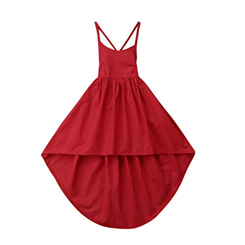 - Toddler Baby Girl Solid Halter Sleeveless Back-Cross A-Line Princess Flutter Dress Summer Clothes Outfit Sets 1-6Y (red,2-3 Years)