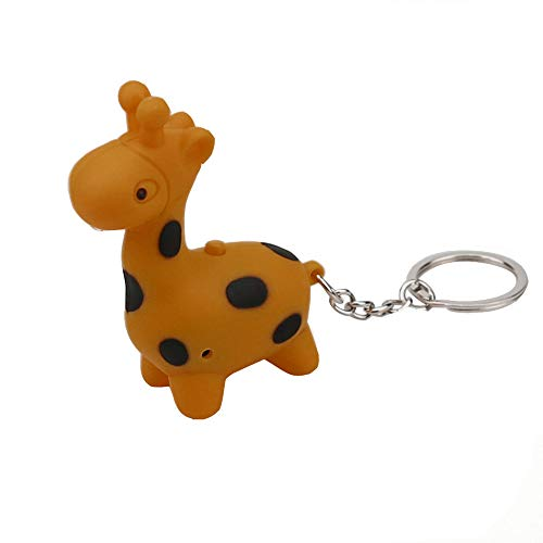 Danhjin Cute Lovely Giraffe Keychain with Digital LED Flashlight and Sound Effects 3D Cute Cartoon Key Holder for Children Designer Key Ring for Kids Thanksgiving Christmas Gift 1 PCS