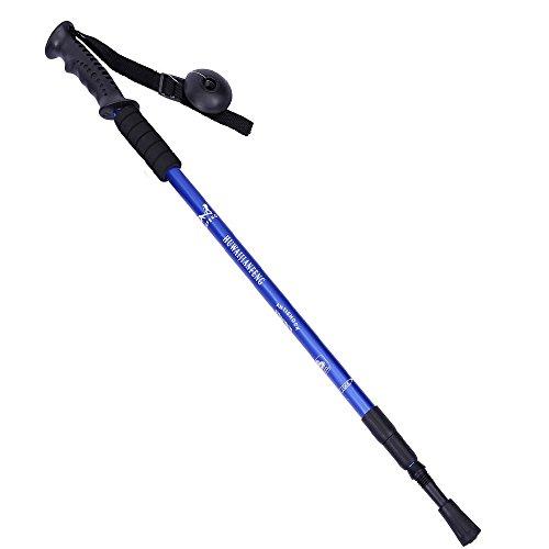 ing Cane Trekking Walking Hiking Sticks Poles Alpenstock Adjustable Length Anti-Shock 52-110cm (Blue 1PC) ()