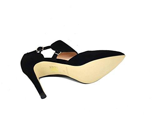 Negro Cerrada Punta RESPIRO Piel Gennia Tacon Aguja 34 Ante Mujer de Talla Fina con Zapatos de para 0Rz6RFp