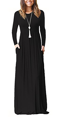 Women's Long Sleeve Pockets Jersey Maxi Dress with Elastic Waistband Black - Maxi Dress Jersey