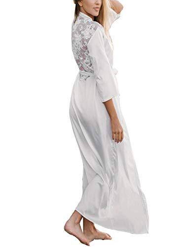 Bikini Cover ups Women Boho Beach Wears Satin Bathrobe Style Beachwears White (one size, 8380)