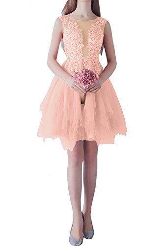 Orange Abendkleider Ivydressing Rundkragen Damen kurz Spitze Ballkleid elegant Brautjungfernkleider Bq8qwz