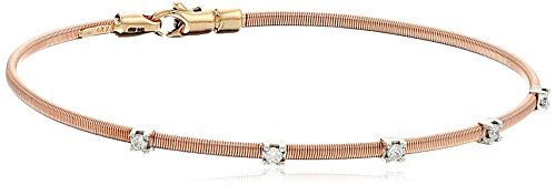 Lobster Diamond (14k Rose Gold Fancy Wire Diamond with Lobster Clasp Lock Bangle Bracelet (1/10cttw, I-J Color, SI2-I1 Clarity))