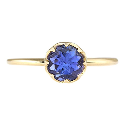 1.35 Carat Natural Blue Tanzanite 14K Yellow Gold Solitaire Promise Ring for Women Exclusively Handcrafted in USA ()