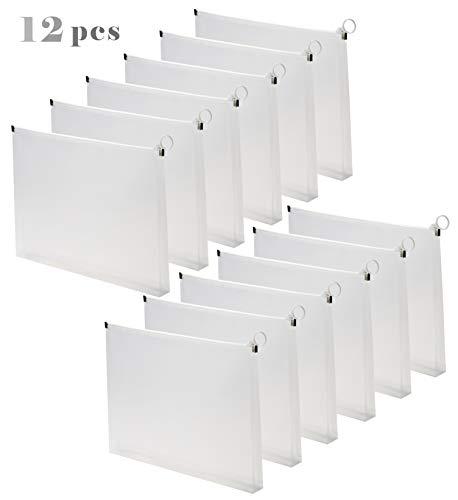 Plastic Zippered Folder Envelopes - 12pcs Clear Poly Pouch Envelopes File Document Holder Case Letter Size