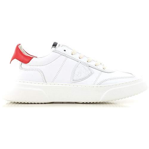In Balu Pelle Scarpe Model Philippe Rosso Sneaker V002 Bianco Uomo f6vgyIbY7
