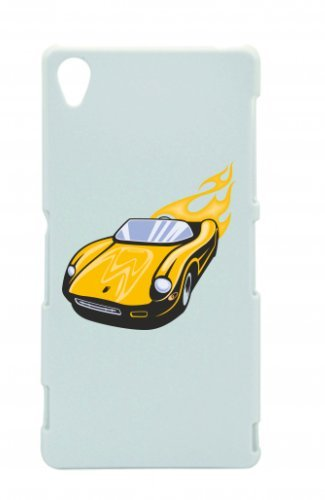 "Smartphone Case Apple IPhone 4/ 4S ""Gelber Sportwagen Cabrio mit Flammen America Amy USA Auto Car Luxus Breitbau V8 V12 Motor Felge Tuning Mustang Cobra"" Spass- Kult- Motiv Geschenkidee Ostern Weihnac"