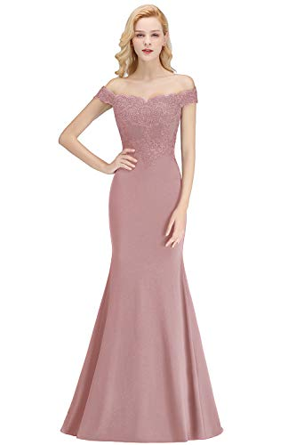 (Elegant Off Shoulder Mermaid Evening Gowns Dusty Rose Bridesmaid Dress for Women,Mauve,6)