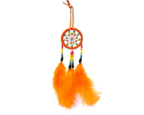 Mia Jewel Shop Small Dream Catcher Natural Feather Beaded Dangle Handmade Ornament Traditional Native Home Décor Wall Hanging Decoration (Orange)