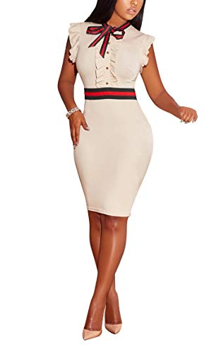 LKOUS Women's Summer Elegant Bowknot Sleeveless Ruffle Bodycon Midi Dress Plus Size S-3XL Cream