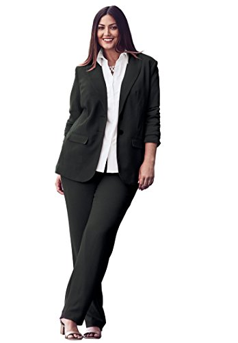 Jessica London Women's Plus Size Single Breasted Pant Suit Black,22 (Fully Lined Pant Suit)