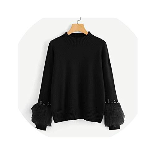 SmarketL Black Solid Faux Fur Cuff Rhinestone Embellished Casual O-Neck Long Sleeve Pullovers -
