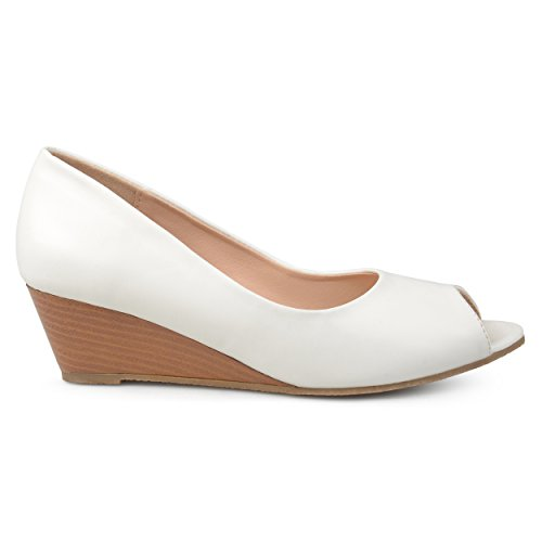 Brinley Co. Womens Callyn Faux Leather Comfort-Sole Peep-Toe Wedges White, 8 Regular -