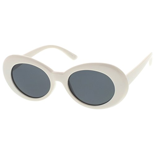 sunglassLA - Retro Oval Sunglasses With Tapered Arms Neutral Colored Round Lens 51mm (White / - Sunglasses White Acne
