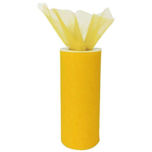 Just Artifacts Tulle Fabric Roll 25yrd Length x 6in Width (Color: Yellow)