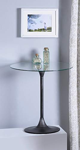 Antique Bronze Handbrushed Finish Round Glass Top Side End Table ()