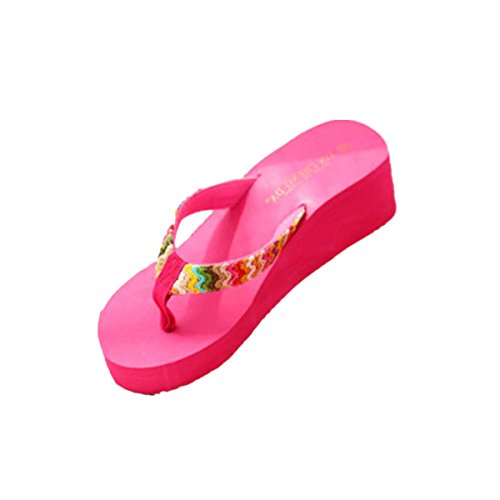 De Slippers Kolylong Flip Lady Patch Haute Femmes Wedge 2017 Rose Flops Vif Chaussures D'été forme Sandales Beach Flat Plate waXBwx