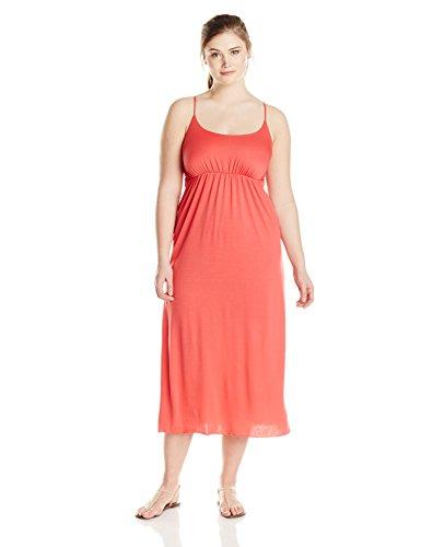 Star Vixen Women's Plus-Size Empire Spaghetti Strap Maxi Dress, Coral, 1X