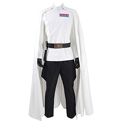 Mens Battle Uniform Cosplay White Cloak Full Set Hallowee Costume - US Size (Man-L, White)