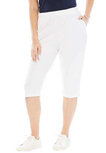 Roamans Women's Plus Size Petite Soft Knit Capri Pant - White, ()