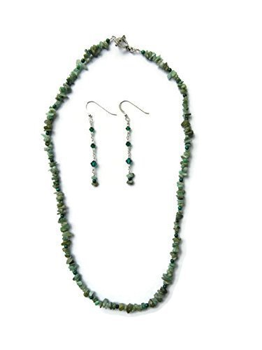 Emerald, Malachite & Swarovski Crystal Necklace & Earring set