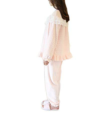 Para Set Moda Top Invierno Lujo Otoño Franela Negligee Color Pink Manga Cálido Damas De Pijamas Rosa Larga qSwxTUtFX