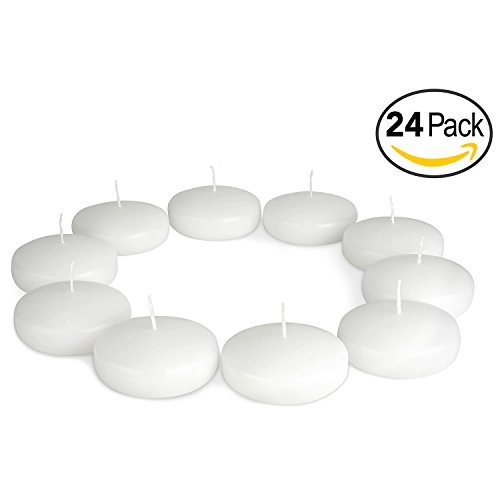 Floating Candles Unscented Discs for Wedding, Pool Party, Holiday & Home Decor, 3 Inch, White Wax, Bulk Set of 24 by Royal Imports (Set Of 20 Champagne Glasses)